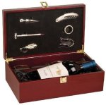 Rosewood Finish Wine Box with Tools and Wine Glasses Barware