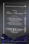 Clear Crystal Panel with Bowtie Blue Accents Crystal Awards