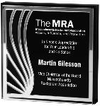 THICK Clear Lucite SQUARE with Black Back and Silver Contour Mirror EXCLUSIVE AWARDS