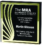 THICK Clear Lucite SQUARE with Black Back and Gold Contour Mirror EXCLUSIVE AWARDS