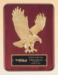 Rosewood Piano Finish Plaque with Gold Eagle Casting Plaques